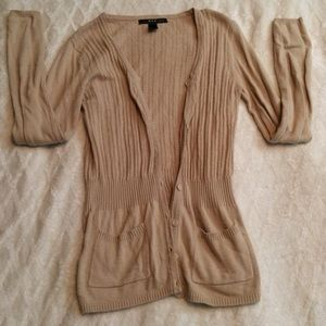 MNG Button Down Ribbed Cardigan w/ pockets EUC